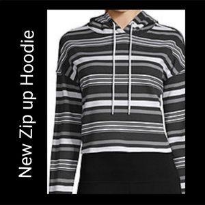 Flirtitude XL Black/White Striped Cropped Hoodie